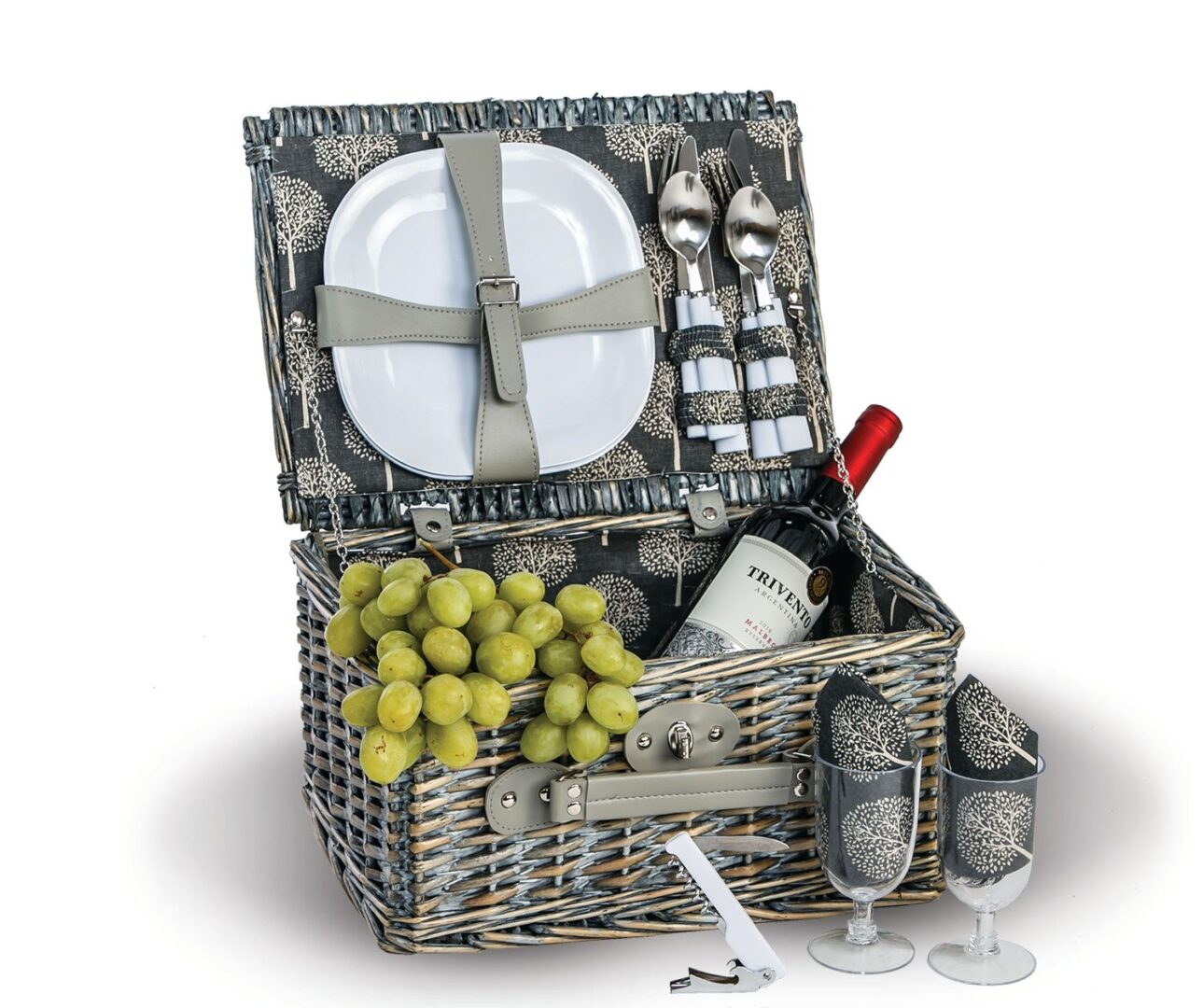 Boothbay 2 Person Picnic Basket - Grey