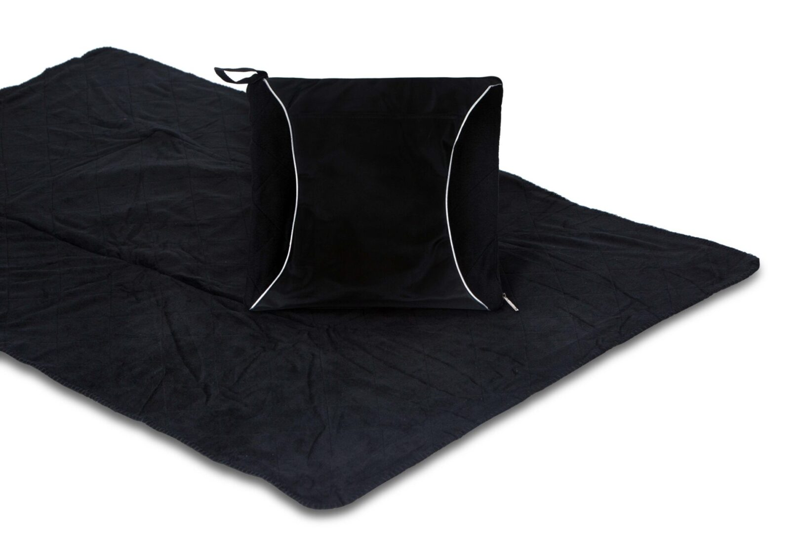 Fleece Blanket Cushion - Black