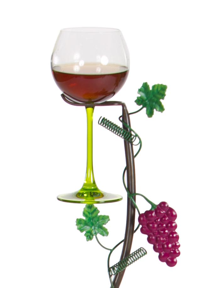 Grapevine Wine Glass Holder Ground Stake - Vineyard