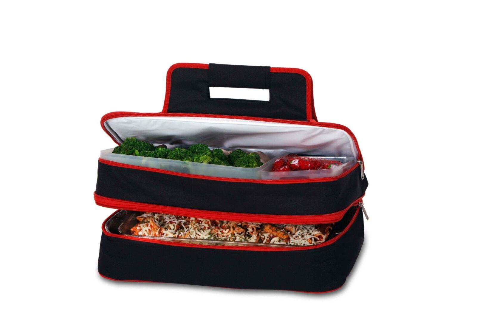 Entertainer Hot & Cold Food Carrier - Black/Red